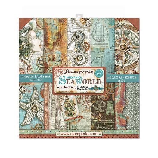 Χαρτιά scrapbooking 10τεμ Stamperia 20,3×20,3cm, Sea World