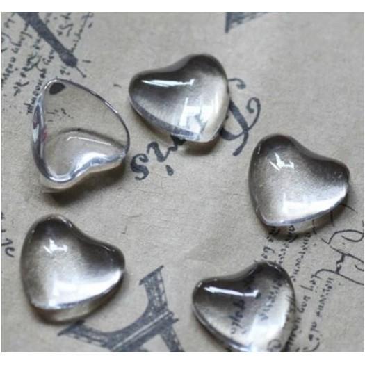 Γυαλάκια διάφανα καρδιές, 12mm, σετ 6 τεμ.