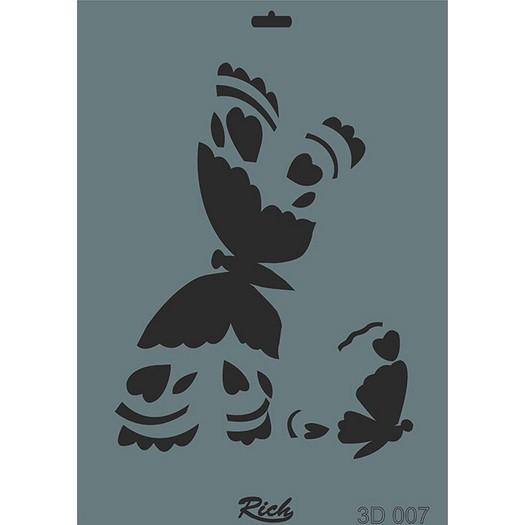 Stencil 3D Rich, 35x25cm 007