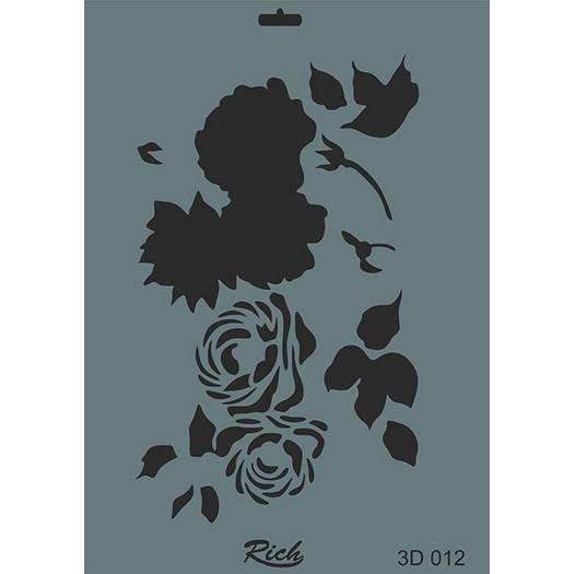 Stencil 3D Rich, 35x25cm 012