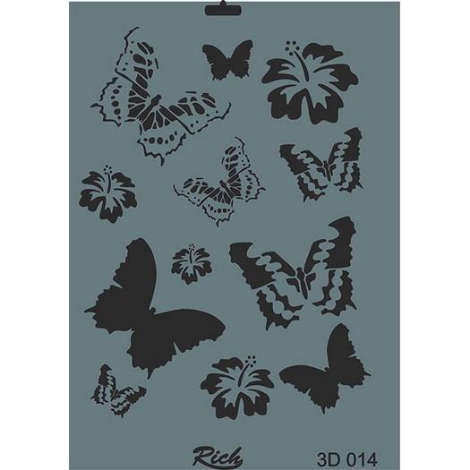 Stencil 3D Rich, 35x25cm 014