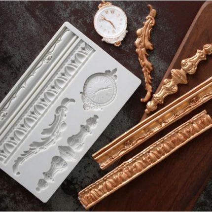 Καλούπι σιλικόνης, Borders and clock, 19,8×12,4cm