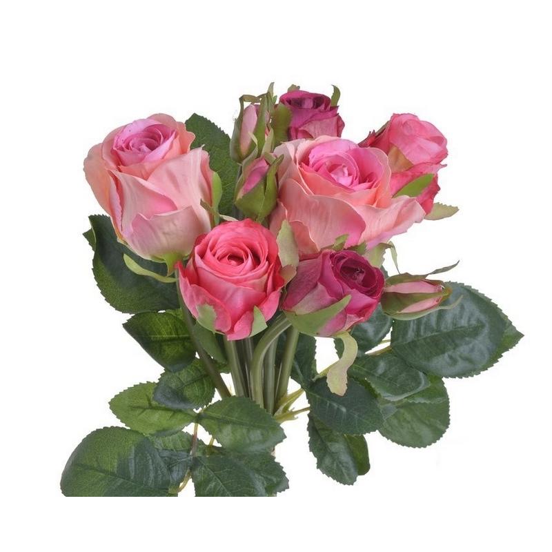 Μπουκέτο 9 τριαντάφυλλων 27cm, pink