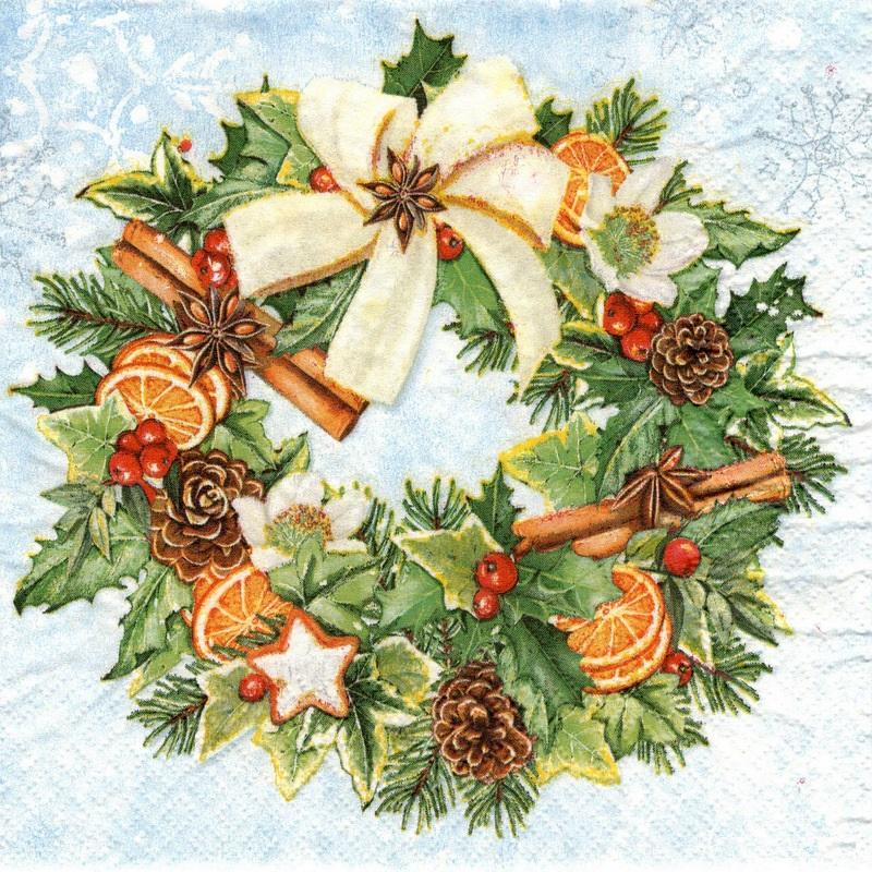 Χαρτοπετσέτα για decoupage 1 τεμ., Christmas Wreath