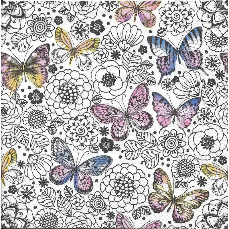 Χαρτοπετσέτα για decoupage 1 τεμ., Butterflies Among Flowers