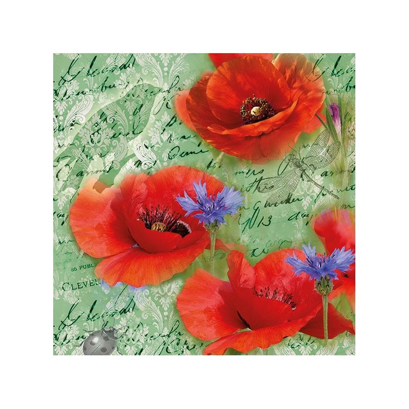 Χαρτοπετσέτα για decoupage, 1τεμ, Painted Poppies Green