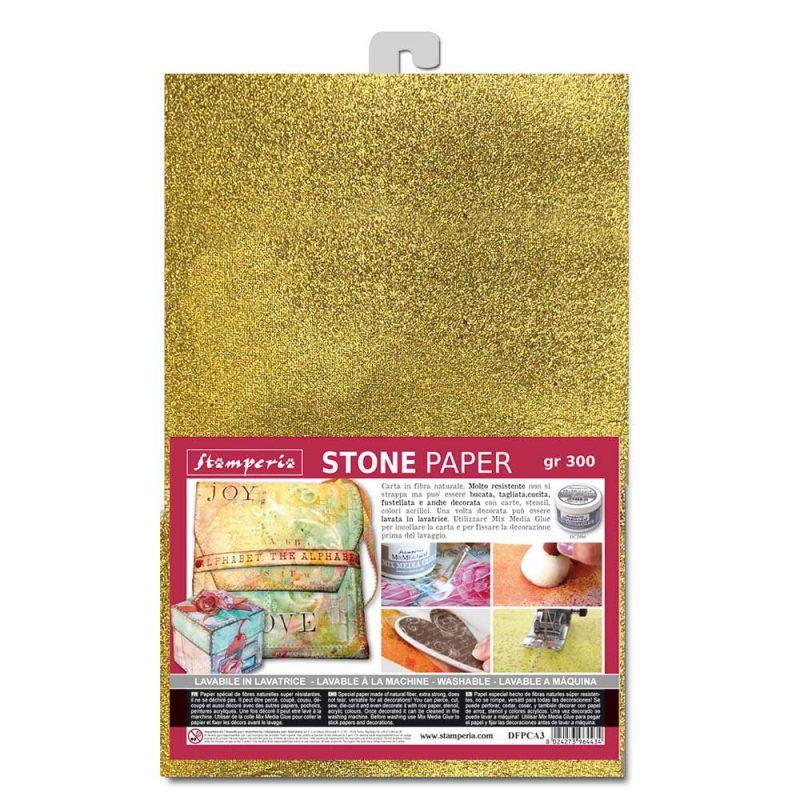 Stone paper A4 Stamperia, Gold