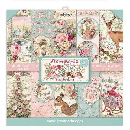 Χαρτιά scrapbooking 10τεμ, 30.5x30.5cm, Pink Christmas Stamperia