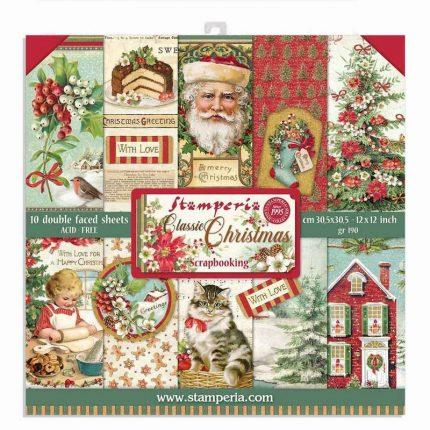 Χαρτιά scrapbooking 10τεμ, 30.5x30.5cm, Classic Christmas Stamperia