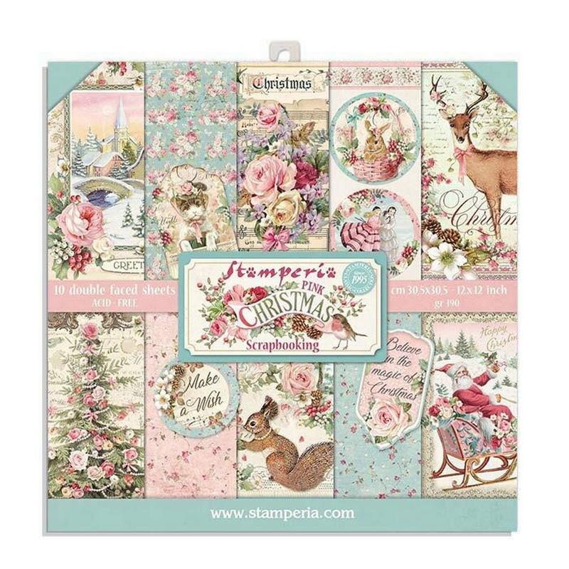 Χαρτιά scrapbooking 10τεμ, 20.3x20.3, Pink Christmas 2 Stamperia