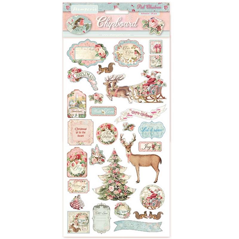 Die Cuts Chipboard Stamperia 15x30cm, Pink Christmas