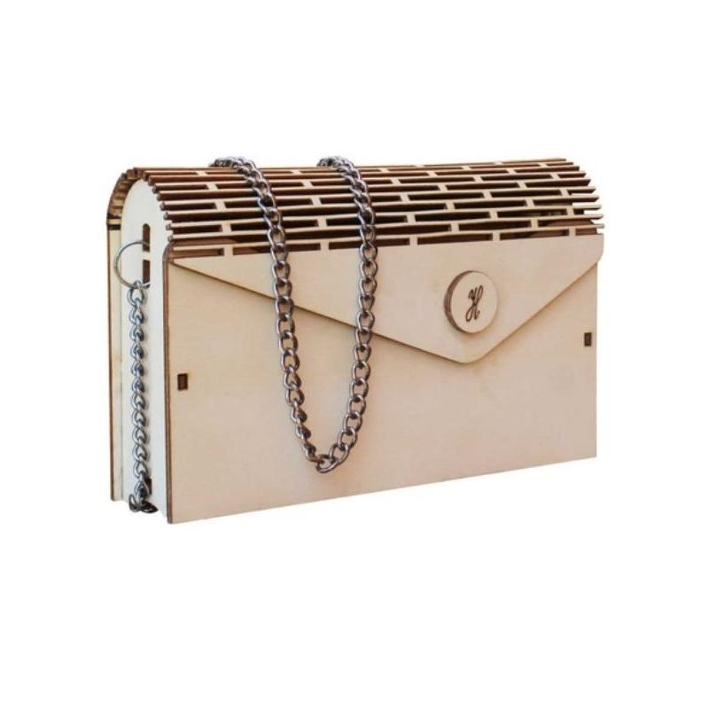Ξύλινη τσάντα με αλυσίδα, 25x6x15cm