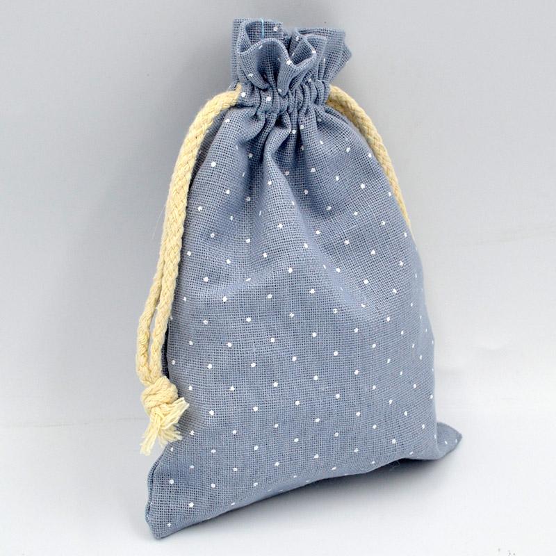 Πουγκί για μπομπονιέρες βαμβακερό πουά σιέλ-λευκό 12x17cm, 10τμχ