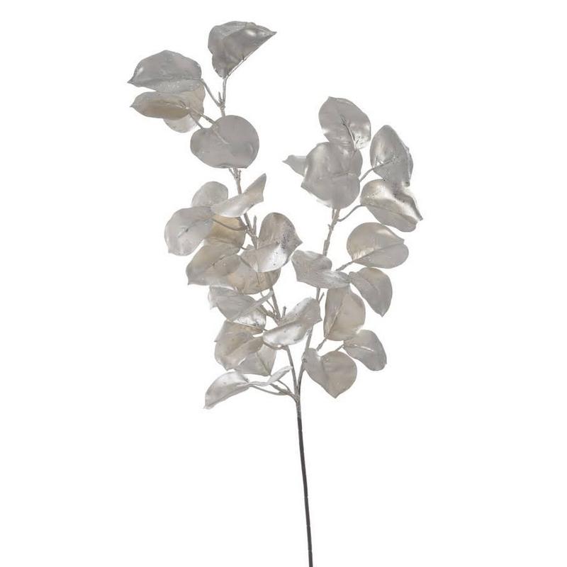 Κλαδί με φύλλα μεταλλικό, champagne, 72cm