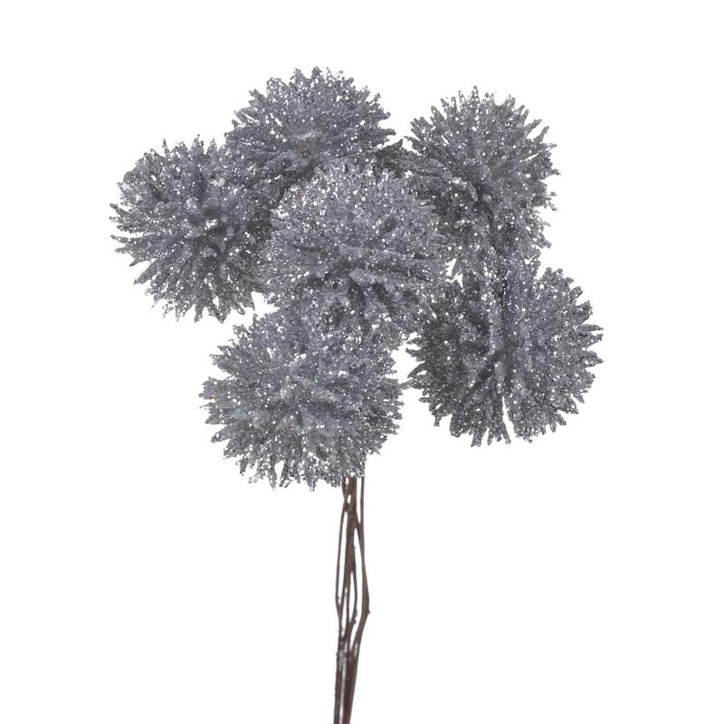 Μπουκέτο εχίνωψ 12cm, silver glitter