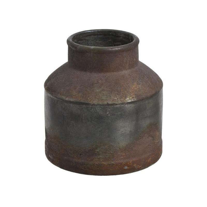 Δοχείο μεταλλικό εφέ rusty antique, 16cm