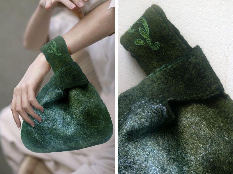 Τσάντα απο φελτ και βισκόζη με ιαπωνικό κόμπ - Σεμινάρια Χειροτεχνίας