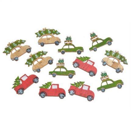 Χριστουγεννιάτικα αυτοκίνητα, ξύλινα, green-red, 12τμχ Ξύλινα χριστουγεννιάτικα στολίδια