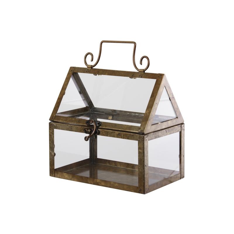 Μεταλλικό θερμοκήπιο με γυαλί, 10x10x15,5cm