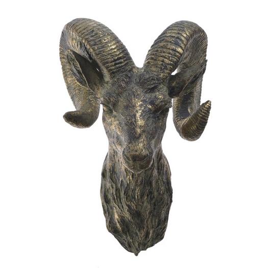 Διακόσμηση Σπιτιού Διακοσμητικό κεφάλι σαμουά μεταλλικό, 21x35cm