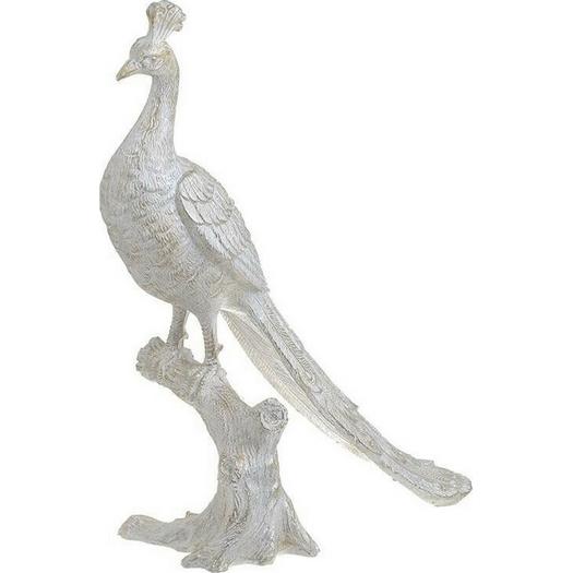 Παγώνι διακοσμητικό silver, 35x14x38cm
