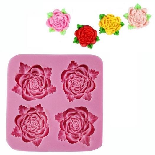 Καλούπι σιλικόνης, Τριαντάφυλλα, 8x8x1,5cm