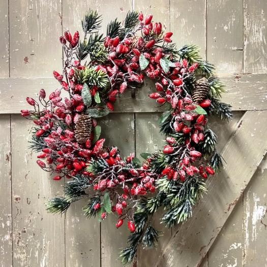 Στεφάνι χριστουγεννιάτικο με κόκκινους καρπούς, 40cm