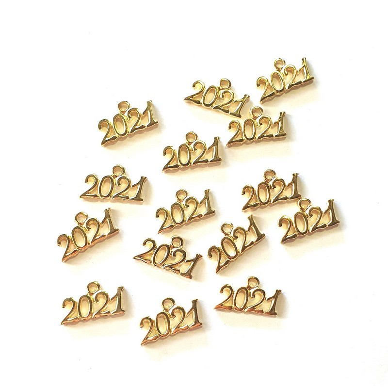 Γούρια μεταλλικά 2021, gold 2x1cm, 15 τεμ