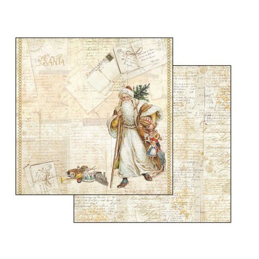 Χαρτί scrapbooking διπλής όψης 30x30cm Stamperia, Santa