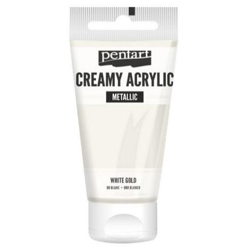 Χρώμα ακρυλικό Creamy 60ml Pentart - Metallic White Gold