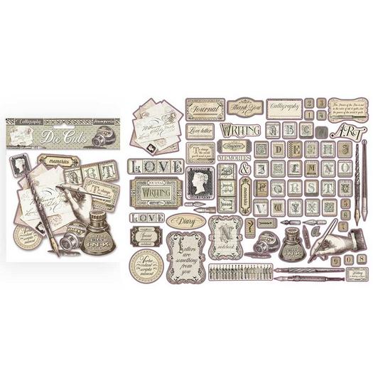 Die Cuts Chipboard Stamperia 15x30cm, Calligraphy