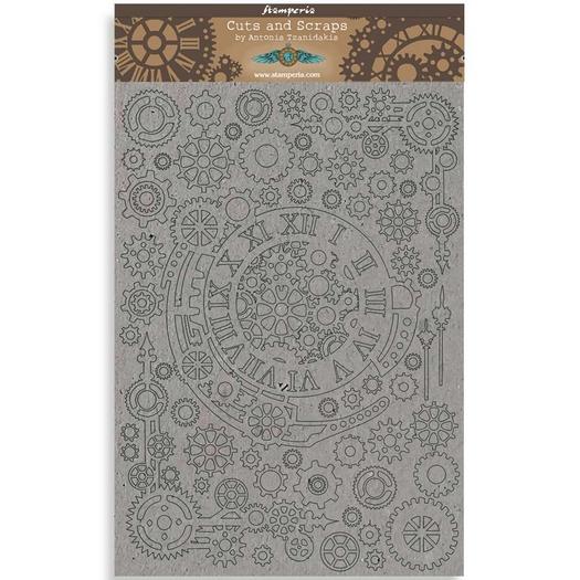 Διακοσμητικά από χαρτόνι Stamperia, 21x29,7cm/2mm, Sir Vagabond Gears with numbers