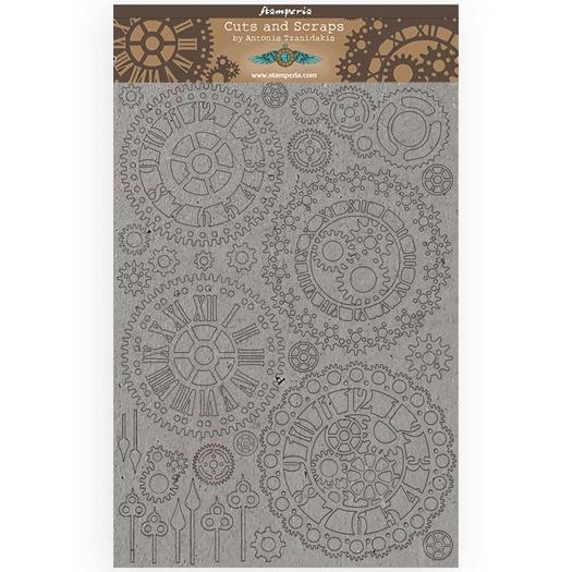 Διακοσμητικά από χαρτόνι Stamperia, 21x29,7cm/2mm, Sir Vagabond Gears and Clocks