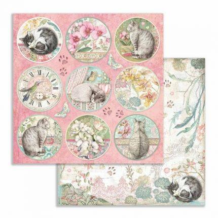 Χαρτιά scrapbooking 10τεμ, 30.5x30.5cm, Orchids and cats Stamperia