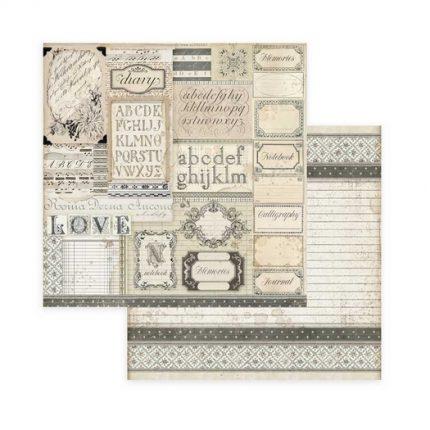 Χαρτιά scrapbooking 10τεμ, 20,3x20,3cm, Calligraphy Stamperia