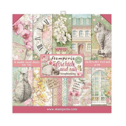Χαρτιά scrapbooking 10τεμ, 20,3x20,3cm, Orchids and cats Stamperia