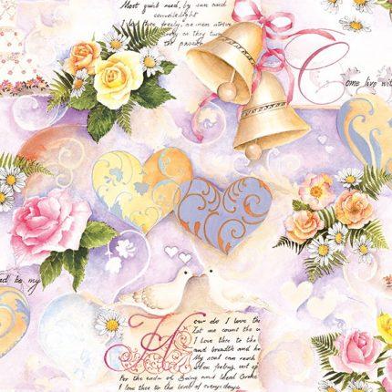 Χαρτοπετσέτα για decoupage, 1τεμ, Wedding Bells Rose