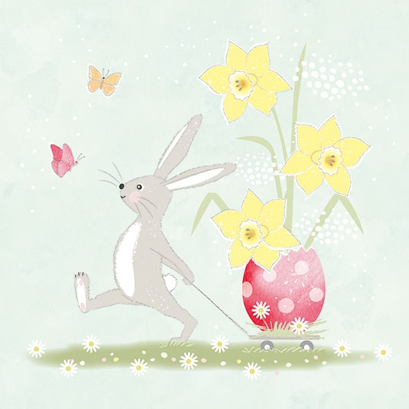 Χαρτοπετσέτα για decoupage, 1τεμ, Walking Easter Bunny