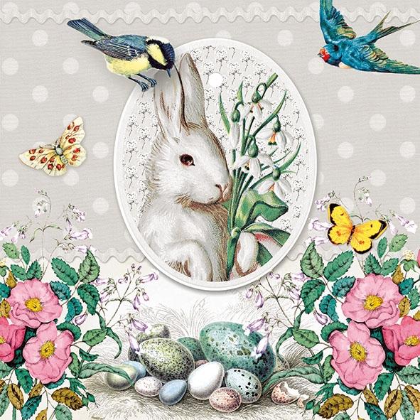 Χαρτοπετσέτα για decoupage, 1τεμ, White Rabbit Grey