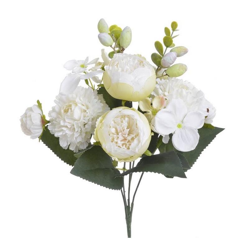 Μπουκέτο λουλουδιών κατιφές, 31cm, white