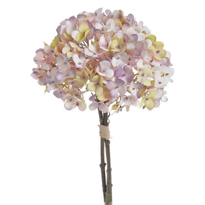 Μπουκέτο ορτανσίας 35cm, yellow violet