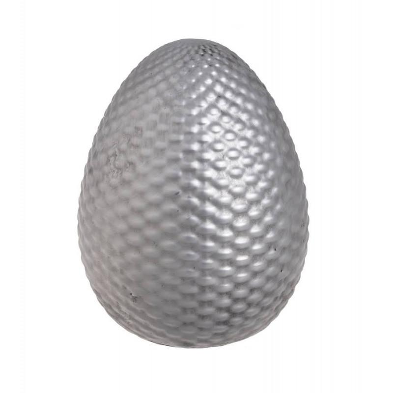 Αυγό κεραμικό ασημί ανάγλυφο, 13cm
