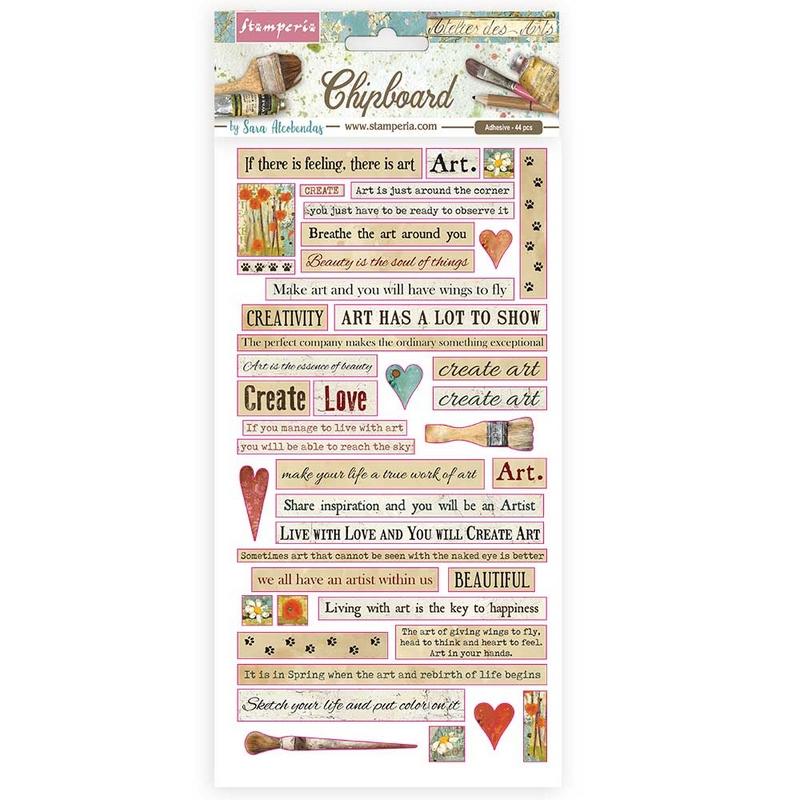 Die Cuts Chipboard Stamperia 15x30cm, Atelier des Arts quotes