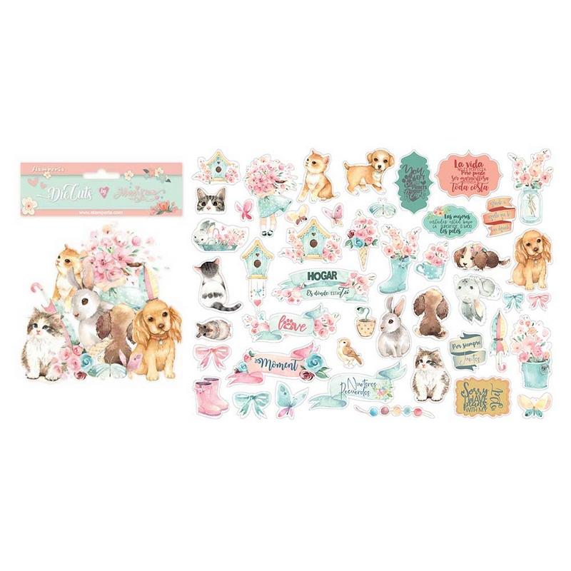 Die Cuts Stamperia, Circle of Love, cats, dogs and embellisments