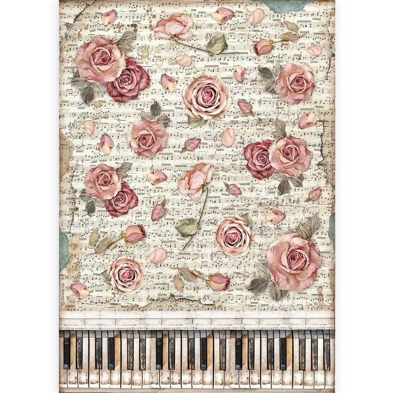 Ριζόχαρτο Stamperia 29,7x42cm A3, Passion roses and piano