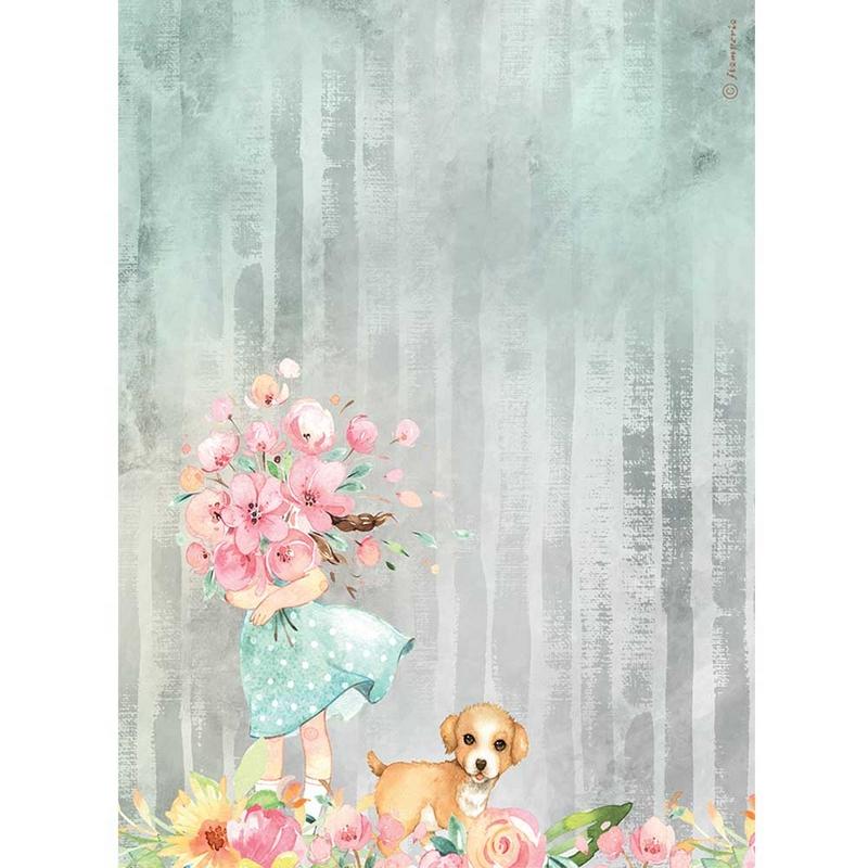 Ριζόχαρτο Stamperia 21x29cm, Circle of Love, Bouquet and dog