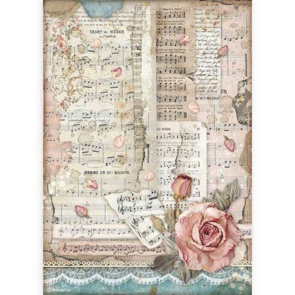 Ριζόχαρτο Stamperia 21x29cm, Passion, Rose and music