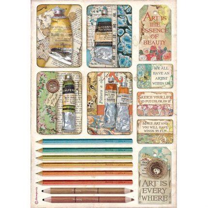Ριζόχαρτο Stamperia 21x29cm, Atelier, Tubes of paints and pencils