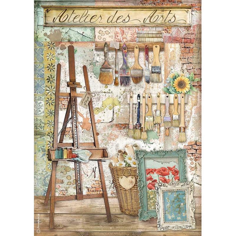 Ριζόχαρτο Stamperia 21x29cm, Atelier Atelier des Arts Easel