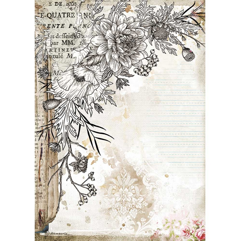 Ριζόχαρτο Stamperia 21x29cm, Journal, stylized flowers